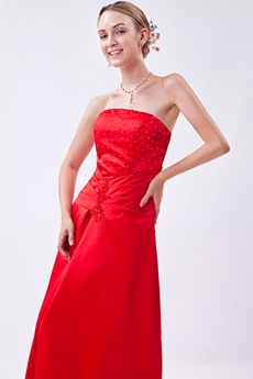 Column Full Length Red Satin Junior Prom Dress With Beads