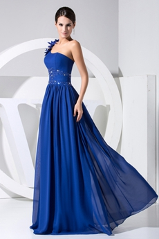 Elegant Royal Blue One Shoulder Marine Ball Dresses With Beads
