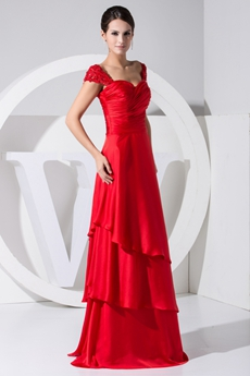 Cap Sleeves Red Satin Prom Party Dress