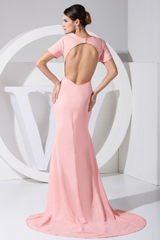 Backless Pink Mother Of The Bride Dress