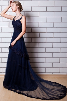 Spaghetti Straps Dark Navy Lace Pageant Dress