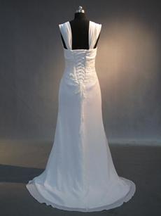 Cheap White Chiffon Plus Size Wedding Dresses for Old Women