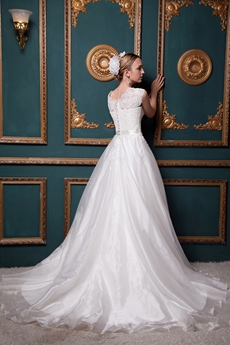 Beautiful Short Sleeves Princess Wedding Dress With Lace
