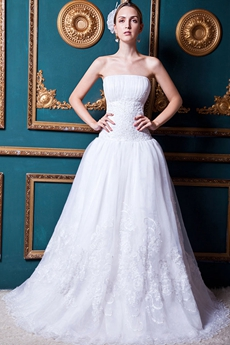 Dazzling Dropped Waist Lace Wedding Dress