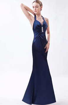 Halter Open Back Dark Navy Evening Dress