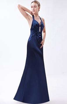 Halter Open Back Dark Navy Evening Dress