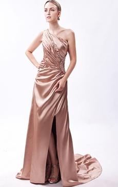 One Shoulder Champagne Evening Dress Front Slit