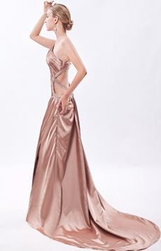 One Shoulder Champagne Evening Dress Front Slit