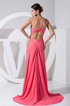 Sexy Watermelon Chiffon High Slit Evening Dress