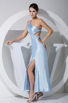 One Straps Ankle Length Light Sky Blue Satin Cocktail Dress