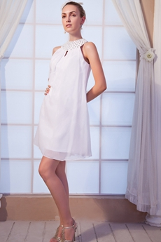 Mini Length Jewel Neckline White Homecoming Dress