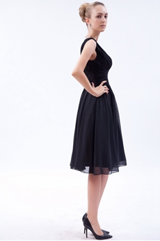 V-Neckline Knee Length Black Prom Party Dress