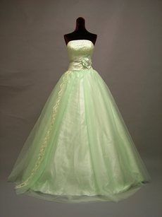 Elegant Sage Strapless Quinceanera Dress