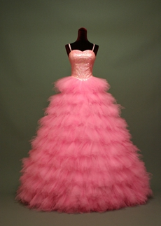 Gorgeous Pink Spaghetti Straps Quinceanera Dresses With Sequins