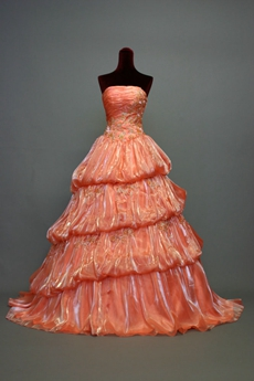 Simple Coral Strapless Quinceanera Dresses