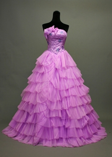 Traditional Lilac Quinceanera Dresses With Basque Waist