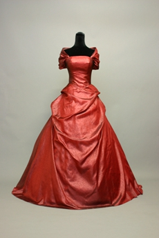 Victoria Dark Red Off The Shoulder Ball Gown Wedding Dress