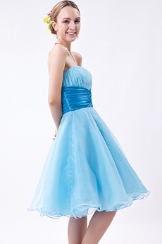 Sassy Puffy Knee Length Blue Sweet Sixteen Dress