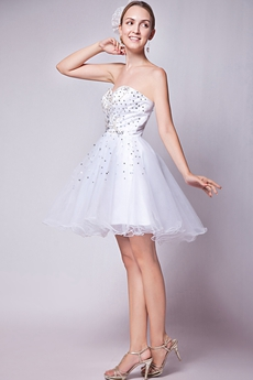 Short Puffy Mini Length White Homecoming Dress