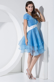 Sassy Puffy Mini Length Blue Quince Dress For Damas