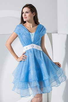 Sassy Puffy Mini Length Blue Quince Dress For Damas