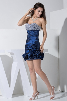 Sheath Mini Length Dark Navy Cocktail Dress With Beads