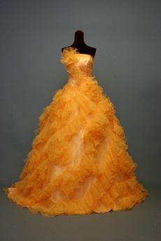 Special Orange Tulle Quinceanera Dresses With Ruffles