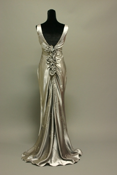 Simple Silver Grey Sheath Evening Dress