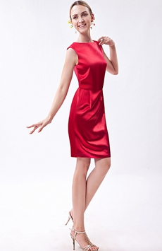 Bateau Neckline Red Satin Wedding Guest Dress
