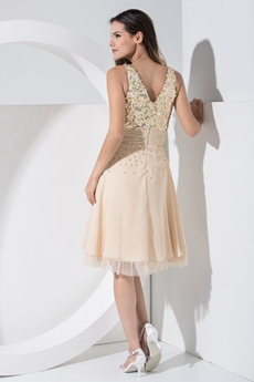 Knee Length Sparkled Champagne Prom Dress