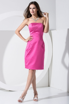 Knee Length Fuchsia Satin Wedding Guest Dress