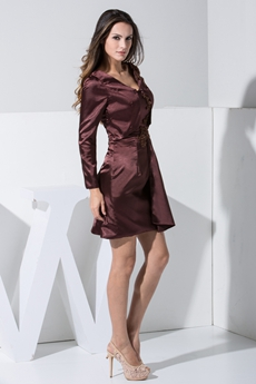 Cheap V-neckline Long Sleeves Chocolate Mother of Groom Dress