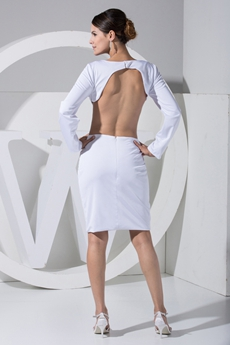 Sexy White Cut Out Mini Cocktail Dress with Open Back