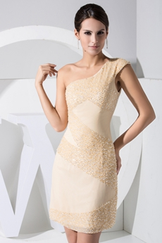 Chic One Straps Mini Length Champagne Beaded Wedding Guest Dress