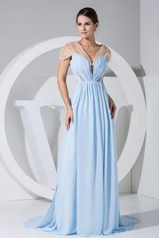 Hot Cap Sleeves Illusion Back Light Sky Blue Chiffon Evening Dress