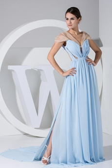 Hot Cap Sleeves Illusion Back Light Sky Blue Chiffon Evening Dress