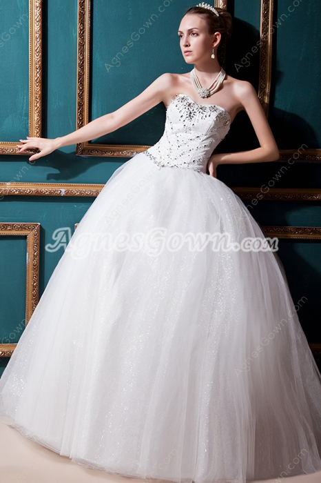 Basque Waistline Ball Gown Wedding Dress With Diamonds
