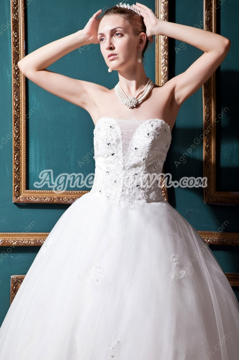 Beautiful Ball Gown Wedding Dress With Lace Appliques