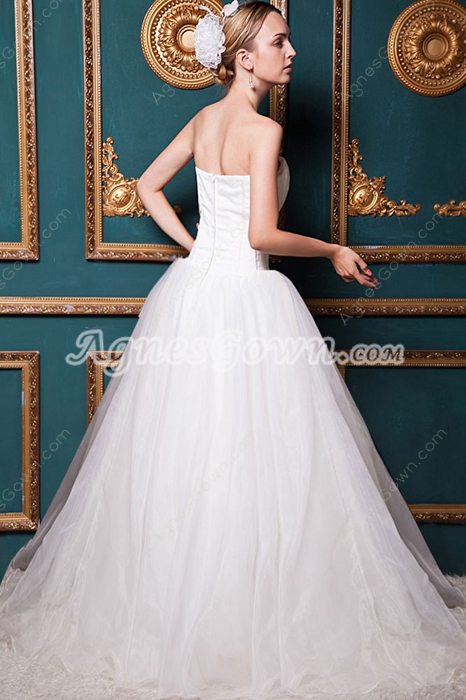 Simple Ivory Organza Wedding Dress