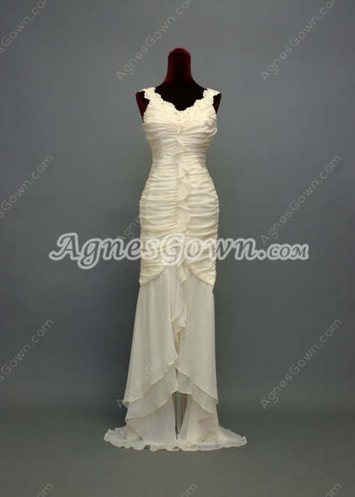 Charming V-Neckline Sheath Mother of Groom Dresses With Pleated Bodice