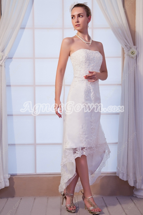 Romantic High Low Lace Wedding Dress For Beach