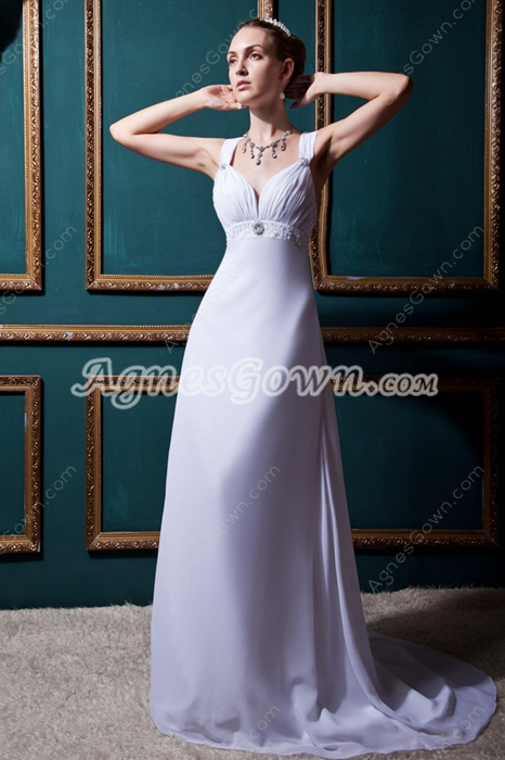 Noble Straps A-line White Chiffon Beach Wedding Dress