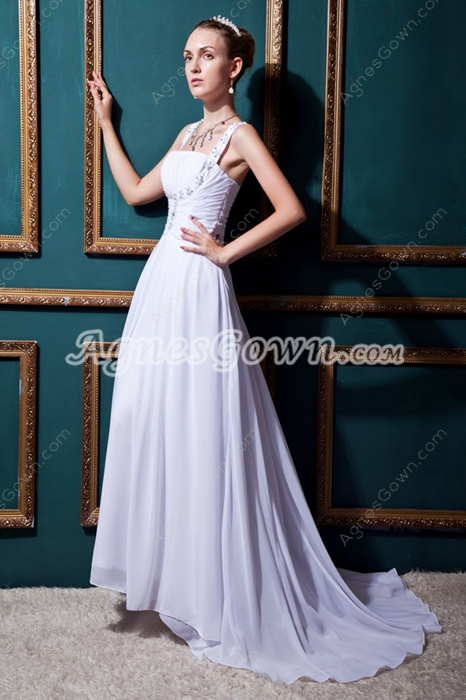 Charming A-line Double Straps Casual Beach Wedding Dress
