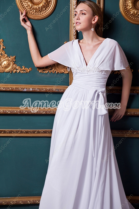 V-Neckline Short Sleeves Casual Beach Wedding Dress