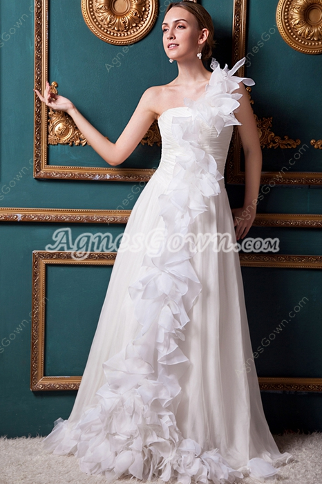 Column/Straight One Straps Destination Wedding Dress With Appliques
