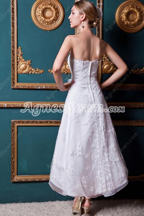 Bohemian Tea Length Lace Wedding Dress