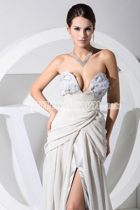 Sexy Strapless Grey Silver Evening Dress with Slit