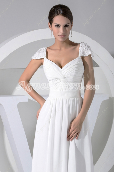 V-Neckline Cap Sleeves White Chiffon Beach Wedding Gown