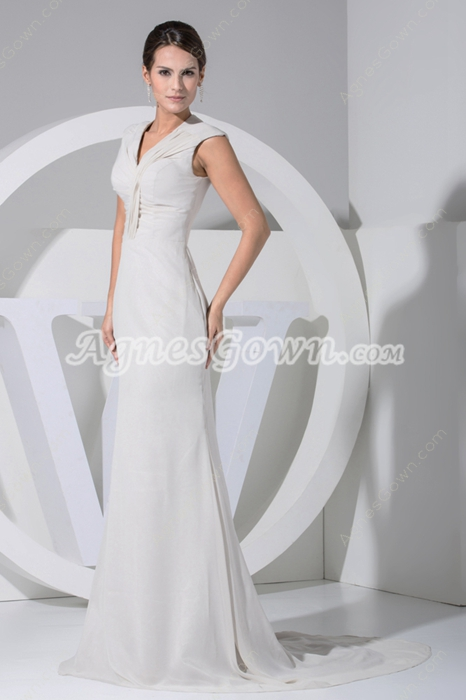 Romantic V-Neckline Cream Chiffon Beach Wedding Dress