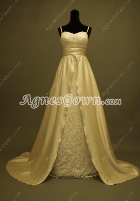 Champagne Spaghetti Strapsa Plsu Size Bridal Dresses With Lace